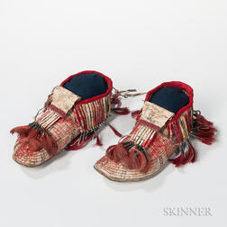 Pair of Fully Quill-decorated Moccasins,