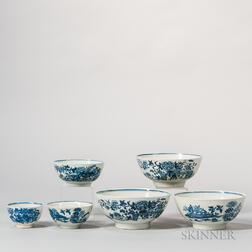 Six Blue and White Worcester Porcelain Graduated Bowls