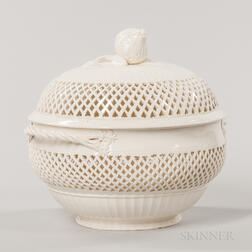 Reticulated Creamware Covered Fruit Bowl