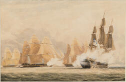 Anglo/American School, 19th Century      Two Watercolors of Naval Battles