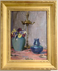 Mary Brewster Hazelton (American, 1868-1953)      Still Life-Flowers and Lamp