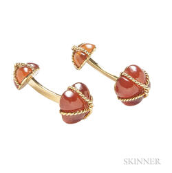 18kt Gold and Hessonite Garnet Cuff Links, Verdura
