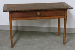Country Pine Breadboard-top Washstand with Long Drawer