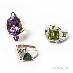 Three 14kt Gold Synthetic Gem-set Rings