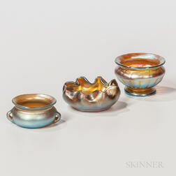 Three Tiffany Favrile Salt Cellars