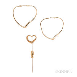 18kt Gold Heart Earrings and Stickpin, Elsa Peretti, Tiffany & Co.