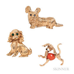 Three Gold Dog Brooches