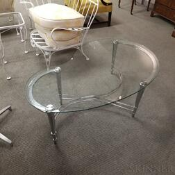 Modern Chrome and Glass Kidney-shaped Coffee Table