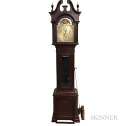 German Mahogany Tall Case Clock with Moon-phase Dial