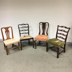 Four Queen Anne and Chippendale Side Chairs