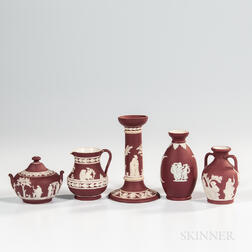 Five Wedgwood Crimson Jasper Dip Items