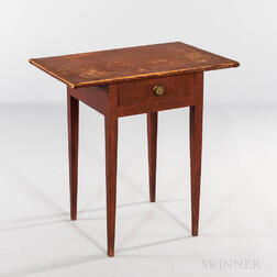 Red-painted Cherry and Pine One-drawer Stand