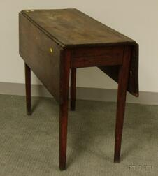 Country Red-painted Walnut and Pine Drop-leaf Table