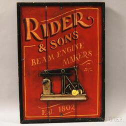 """Painted Cast Iron-mounted Wood """"Rider & Sons, Beam Engine Makers, Est. 1802""""   Advertising-style Sign"""