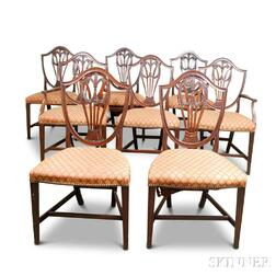 Set of Eight Federal-style Carved Mahogany Shield-back Dining Chairs