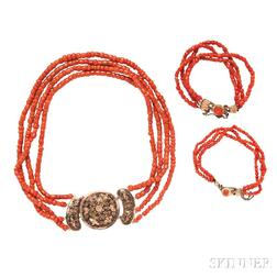Antique Coral Necklace and Bracelets