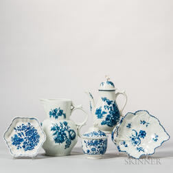 Five Worcester Porcelain Underglaze Blue and White Decorated Items