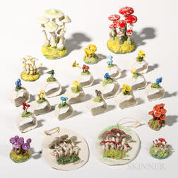Two Maria Maravigna Plaques, Seven Mushroom Clusters, and Fourteen Napkin Rings