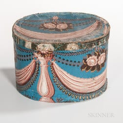 Wallpaper-covered Cardboard Hatbox