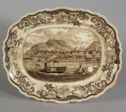 Historic Brown Transfer Decorated Staffordshire Platter with View of Pittsburgh