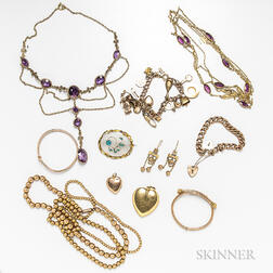 Group of Antique 9kt Gold and Gold-filled Jewelry