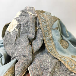 Armenian Light Blue Embroidered Wool Cape and a Shawl Cape.     Estimate $200-250