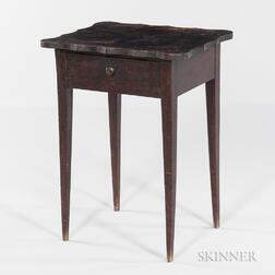 Dark Brown-painted Maple and Tiger Maple One-drawer Stand