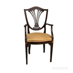 George III-style Inlaid Mahogany Shield-back Armchair