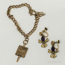 14kt Gold Charm Bracelet with Fraternal Charm and a Pair of 14kt Gold and Amethyst Earclips