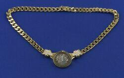 18kt Gold, Diamond, and Emerald Coin Necklace