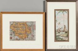 Sumatra, Borneo, and Budapest, Six Framed Maps and Prints.