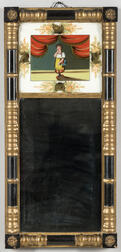 Ebonized and Gilt Baluster Framed Mirror with Reverse-painted Tablet