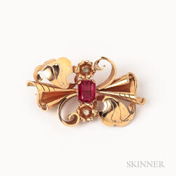 Retro 18kt Gold Gem-set Brooch