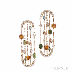 18kt Gold, Diamond, and Gem-set Sautoir Arched Earrings, Alexandra Mor