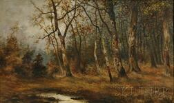 Arthur W. Moore (British/American, 1840-1913)      Wooded Grove in Autumn.