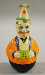German Polychrome Painted Composition Roly Poly Clown Figure