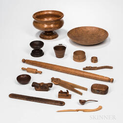 Seventeen Woodenware Items
