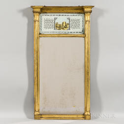 Federal Carved and Gilt-gesso Eglomise Mirror