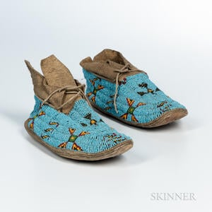 Pair of Plains Beaded Hide Moccasins