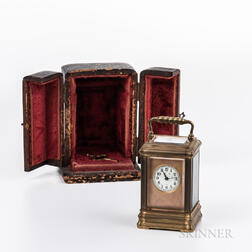 Miniature French Carriage Clock and Case