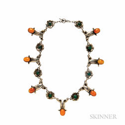.830 Silver, Amber, and Green Onyx Necklace, Georg Jensen