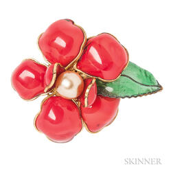 Vintage Enamel and Glass Flower Brooch, Attributed to Maison Gripoix