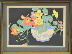 Janet Laura Scott (American, 1888-1968)      Nasturtiums in a Blue and White Bowl
