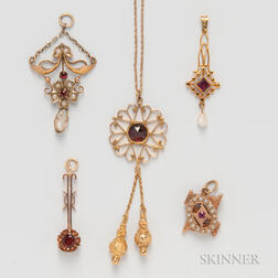 Four Victorian Gold and Garnet Lavaliers
