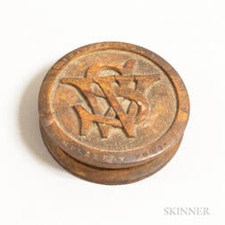"""Shakespeare's Mulberry Wood"" Carved and Turned Snuff Box"