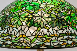 Tiffany Studios Bronze Floor Lamp with Maple Leaf Shade