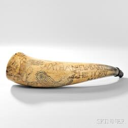 Engraved Powder Horn Identified to Nathaniel Bartlett