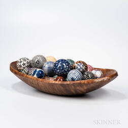 Carved Tiger Maple Oval Chopping Bowl and Thirty Carpet Balls