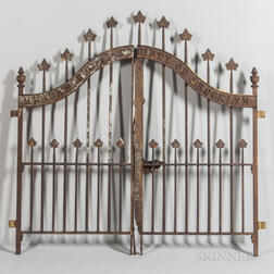 "Pair of Cast Iron Gates from the ""Hebrew Burial Society of Brooklyn,"""