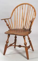 Windsor Ash, Pine, and Maple Continuous Brace-back Armchair